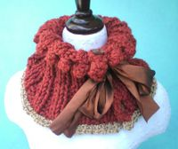 Cinnamon and Copper Bobble Scarf