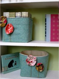 Bohemian Poppies Aqua Baskets