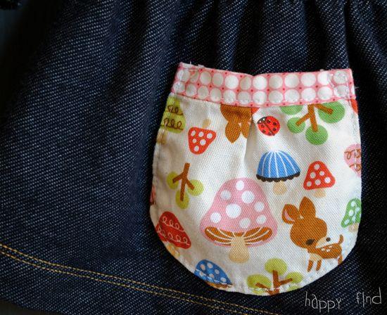 Denim dress pocket